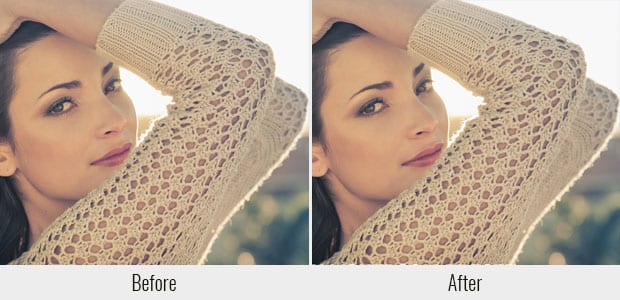A before and after example of the Light Leak preset, used on a picture of a woman