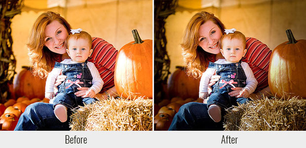 A before and after example of Matt Kloskowski's Spotlight preset, used on a picture of a mom holding her baby with pumpkins in the background