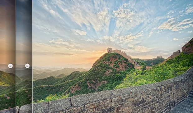 A picture of the great wall of China with a filter over it, with the edge of other filters from the Nik Collection visible