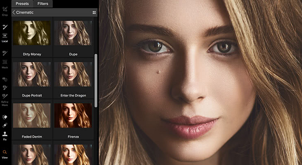 An example of the ON1 Effects Photoshop Plugin, showing one setting applied to a photo of a woman's face, with small boxes showing previews of several other settings