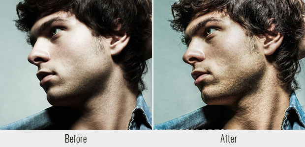 A before and after example of the Strong HDR present, used on a dramatic, closeup side view of a man's face