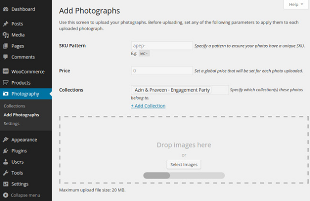 WooCommerce photography tab in the WordPress beck end