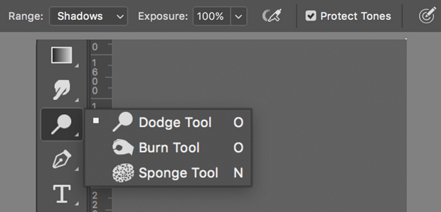 The dodge and burn tools in a menu in Photoshop