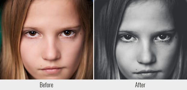 A before and after example of the CatchingStand Black and White preset, used on a closeup of a girl's face