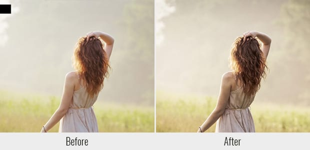 A before and after example of the Cinema Inspired preset, used on a picture of a woman standing in a field