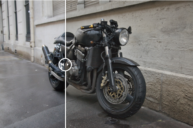 An example of the Cinematic Luminar preset, used on an image of a motorcycle parked against a concrete building