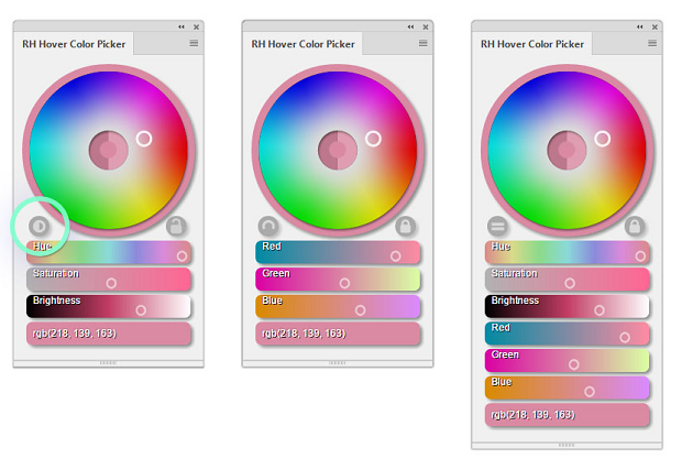An example of the several color picker sliders available in the RH Hover Color Picker plugin