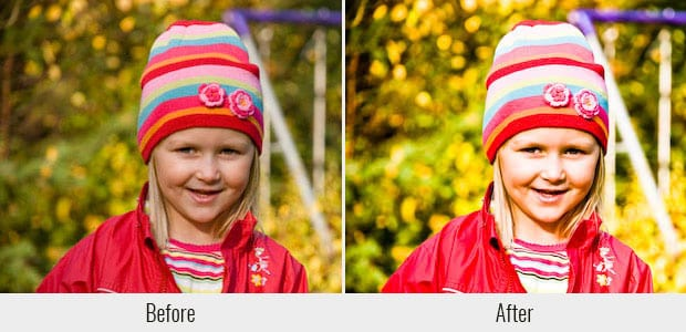 A before and after example of the Color Print Film Emulation preset, used on an image of a little girl in a park