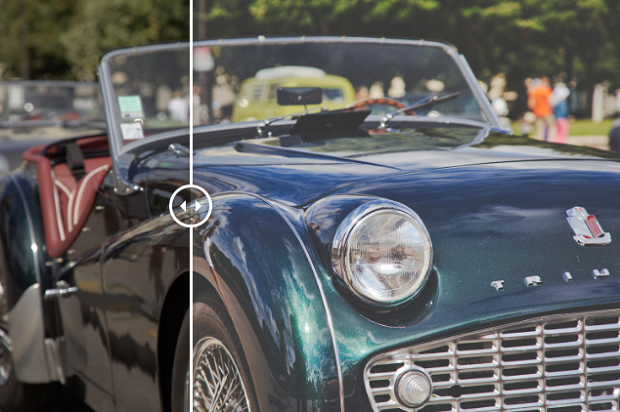 An example of the Dynamic Film Luminar preset, used on an image of a vintage car