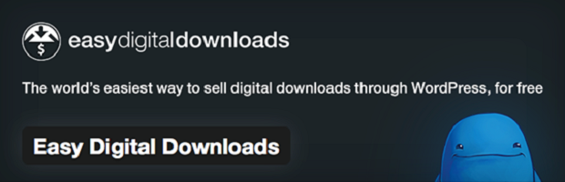 Easy Digital Downloads banner, with their tagline and a cute blue monster peeking over the bottom
