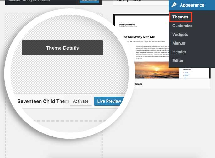 Activate the child theme to begin creating your custom template