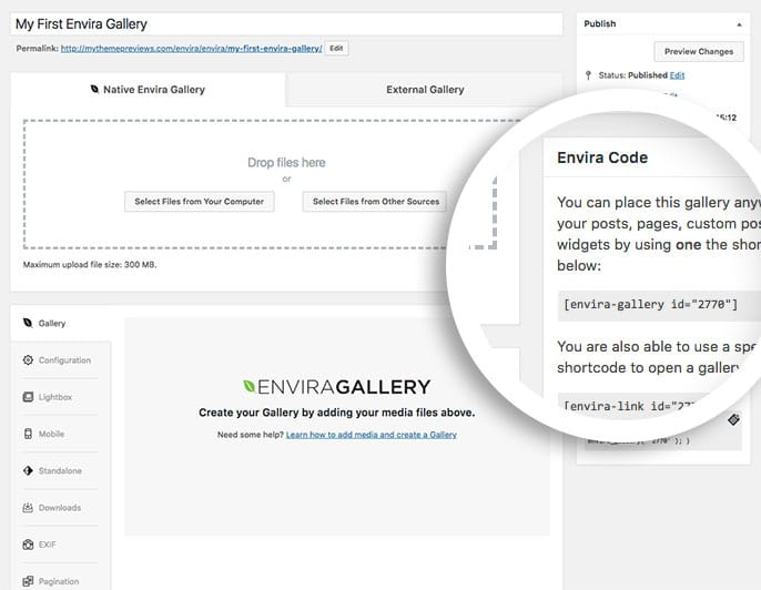 Once you've published your gallery for the first time, the gallery edit screen will show you the available shortcode,Envira Link and template tags for that individual gallery.