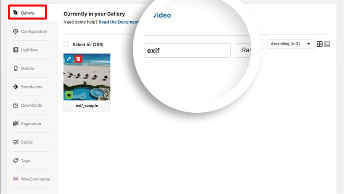 Use the search box to quickly find your Envira gallery images by title