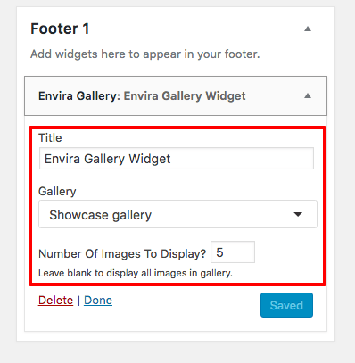 Configure your Envira Gallery Widget