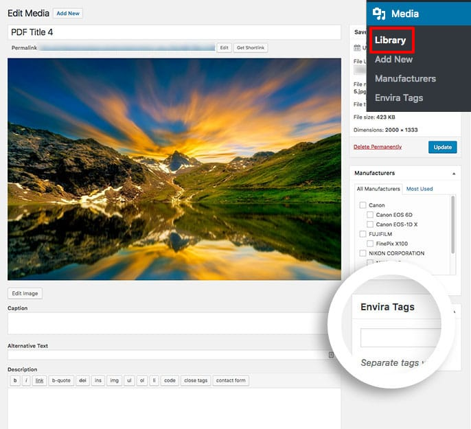Add your Envira tags to your gallery images