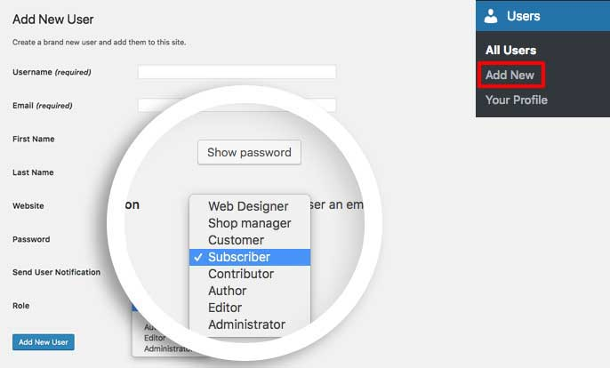 Adding a WordPress user role