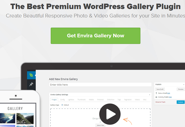 Envira Gallery banner, showing the WordPress back end on a desktop and an example gallery on a mobile device