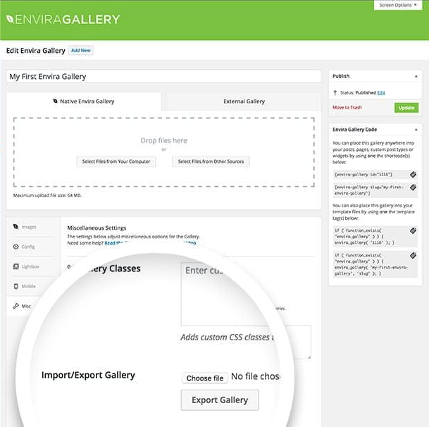 Select the Export Gallery button in the Misc tab when editing your gallery to export the gallery as a JSON file.