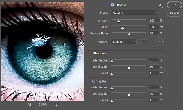 A close up of an eye being edited in Photoshop, with several sliders to the right