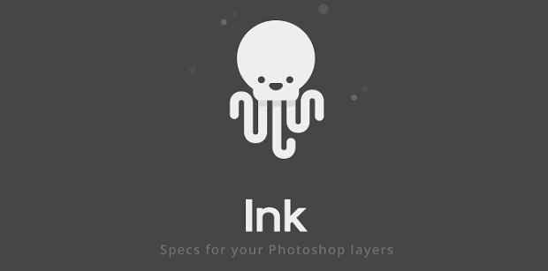 The Ink Photoshop plugin logo, with a white octopus on a dark grey background