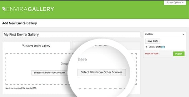 Create a video gallery by clicking the Select Files from Other Sources button