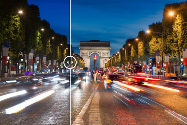 An example of the Night Streaking Luminar preset, used on an image of a busy street at night