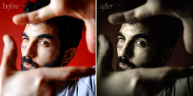 A before and after example of the Old Photo Photoshop plugin, used on a picture of a man