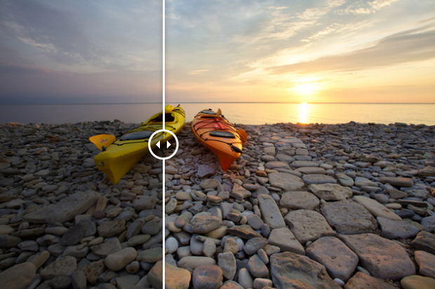 An example of the PRefect Day Luminar preset, used on an image of a couple of kayaks on a stony beach, with the sun setting over the water in the background
