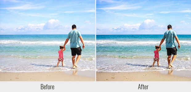 A before and after example of the Realistic HDR preset, used on a picture of a little girl and her dad walking on the beach