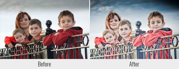 A before and after example of the Rockweel Warm preset, used on a picture of three brothers and their mom in front of a metal fence
