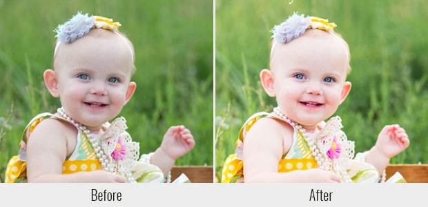 A before and after example of the Silky Smooth Skin preset, used on a picture of a baby with bright green grass in the background