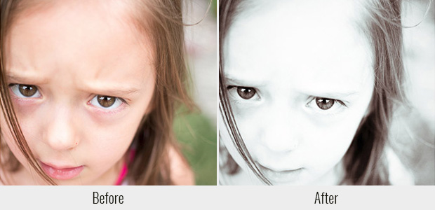 A before and after example of the Silver Lining preset, used on a close up picture of a little girl's face
