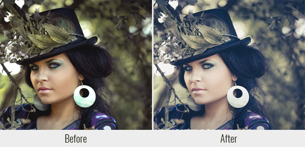 A before and after example of the Soft Light preset, used on a picture of a woman dressed up in fancy clothes and a hat