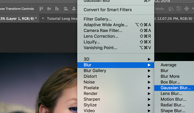 The 'Gaussian Blur' option being highlighted in a drop-down list in Photoshop