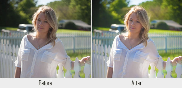 A before and after example of the Summer Love preset, used on a picture of a woman standing in front of a fence in the sunlight