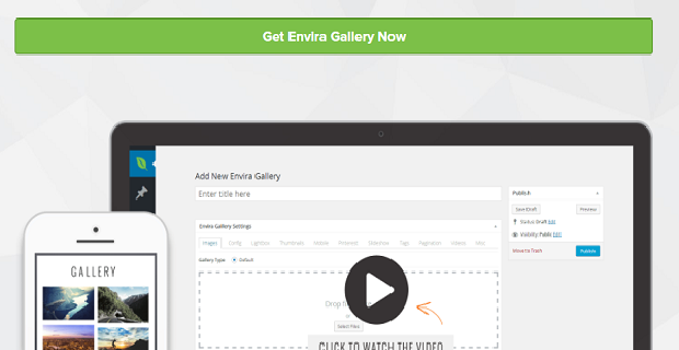 The Envira Gallery homepage banner, showing the WordPress back end on a desktop and an example gallery on mobile