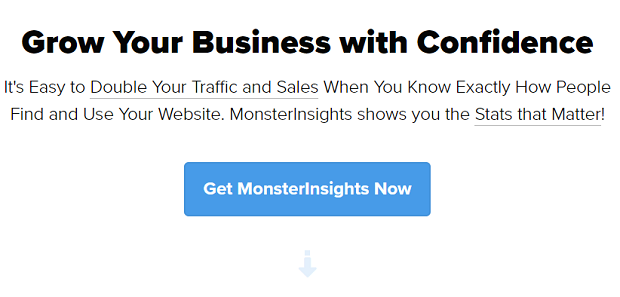 The MonsterInsights homepage banner