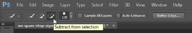 A Photoshop toolbar, with the Subtract from selection brush highlighted