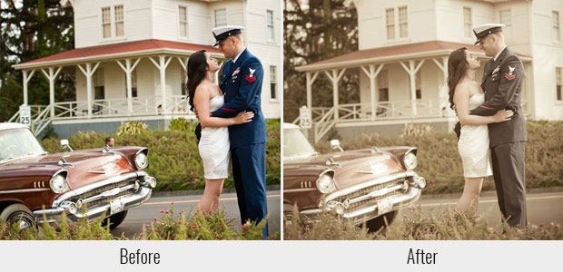 A before and after example of the Vintage Wedding presets, highlighting the pack's sepia tones