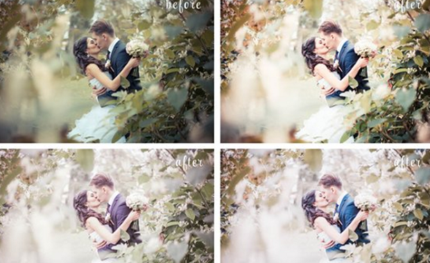A before and after example of three of the over 100 presets included in the Bright and Airy preset pack, used on an image of a bring and groom among some trees