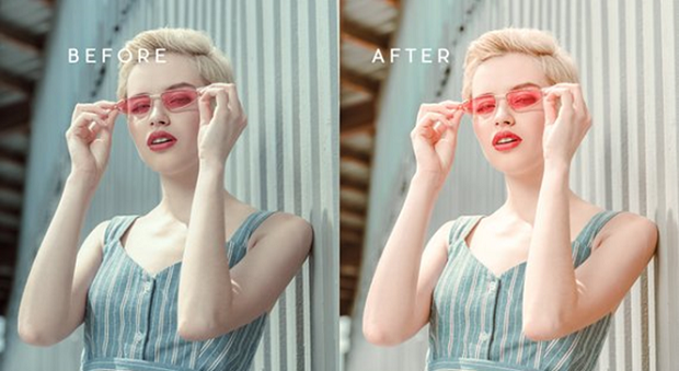 A before and after example of the C1 Vibrant Blogger preset, used on an image of a woman wearing sunglasses