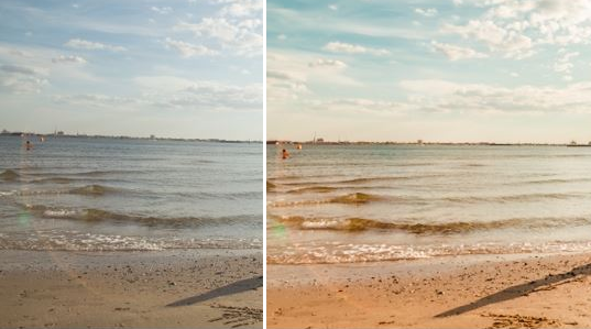 A before and after example of some clarity and other adjustments used on a photo of a beach to make it look more like old film