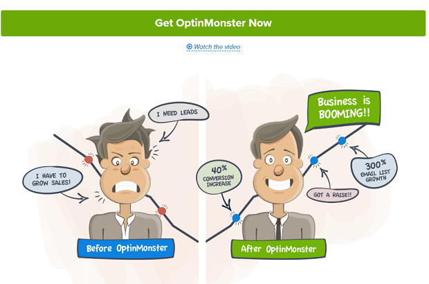 The OptinMonster homepage banner, showing a before and after cartoon