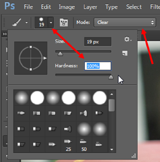 Photoshop brush settings, with 100% hardness and clear mode selected