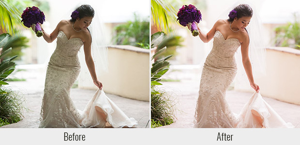 A before and after example of the Wedding Day Lightroom preset, highlighting its soft pinkish glow