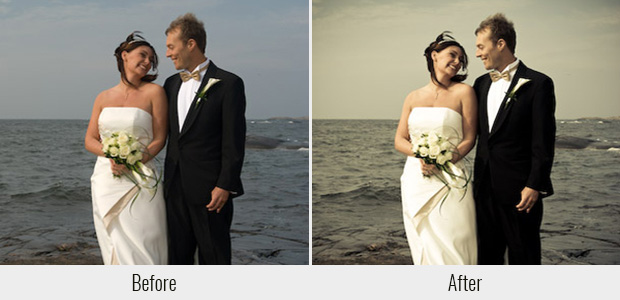 A before and after example of the soft sepia filter available in the Wedding Lightroom Preset Collection