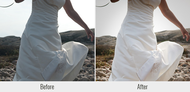 A before and after example of the Weddings Look presets, highlighting the clearer white tone it can give to dresses