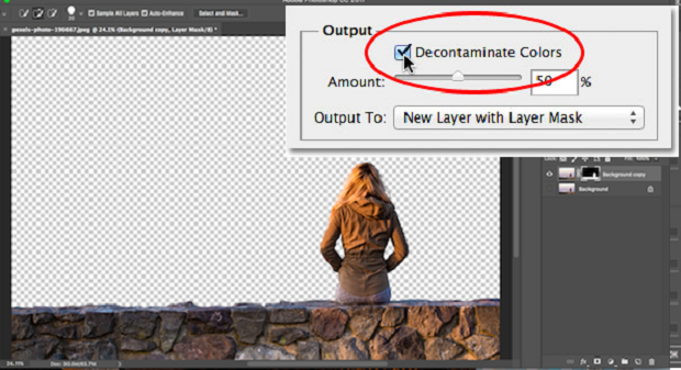 The Decontaminate Colors checkbox within Photoshop's Output Settings
