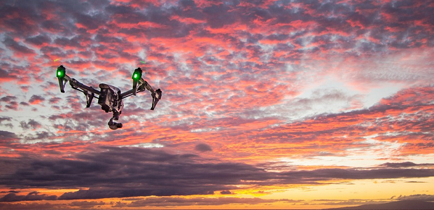 A drone facing towards the sunset