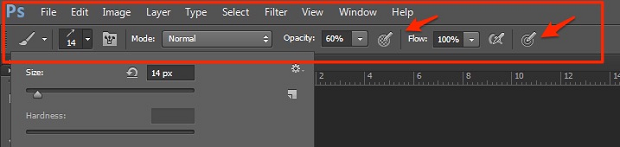 A part of the Photoshop UI, highlighting a couple of buttons needed for lowering the opacity of a selection